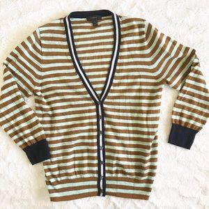 J Crew Thin Knit Color Contrast Striped Cardigan